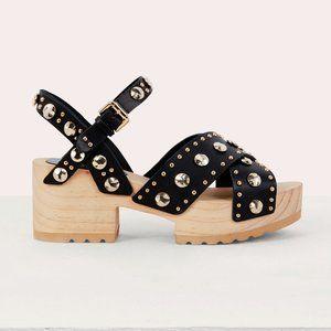 NWOT Maje black gold stud leather platform sandals